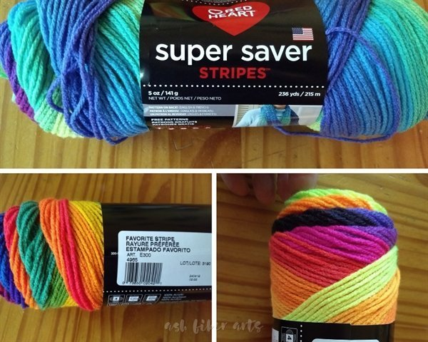 Red Heart Super Saver Stripes Yarns - Bright Stripe, Favorite Stripe and Parrot Stripe - yarn stash acquisition