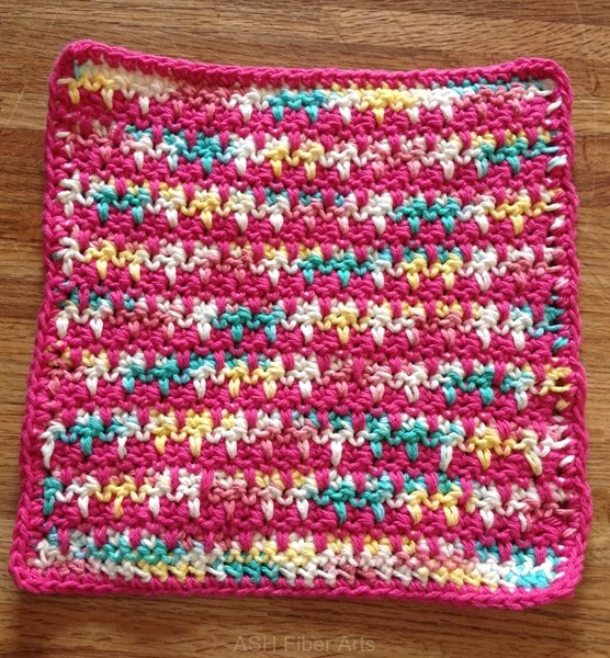 pink version with variegated cotton yarn